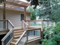 Cedar deck and railing with Pergola over deck